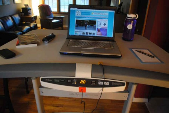 You can invest in a full treadmill desk or just a mini-stepper for around $50!