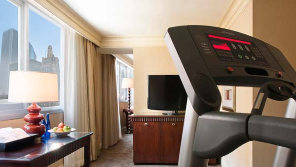 At this fit hotel in Chicago, you don't even have to leave your room for a workout! Credit: Hotel 71