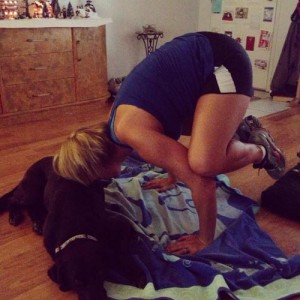 I've already got a start on doing a little more yoga, with a little help from my favorite downward dog, Rudi.