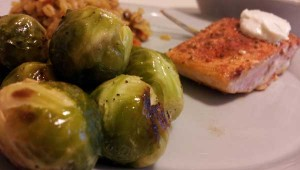 Wild Alaskan salmon. And Brussels sprouts. Food heaven!