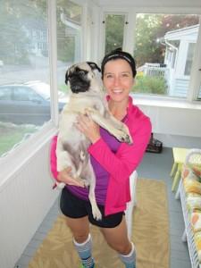 Tina and her beloved pug Murphy.