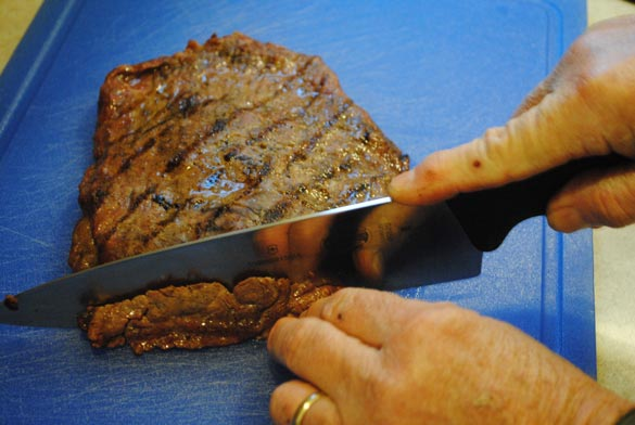 cutting steak