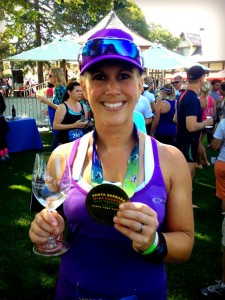 Wine tasting at the finish line makes a PR even sweeter.