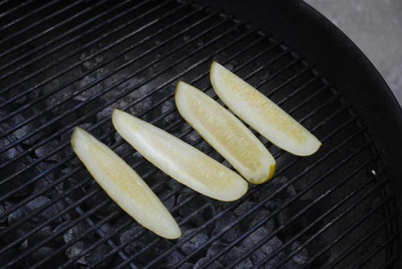 pickles on grill