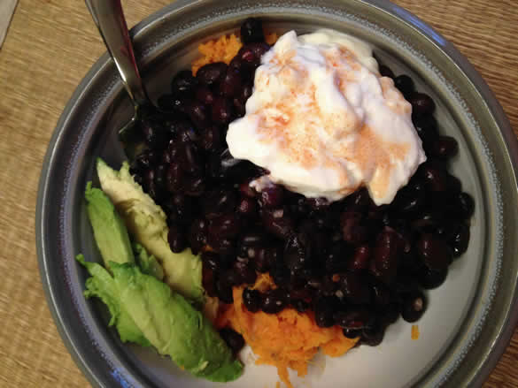 sweet potato with black beans avocado greek yogurt