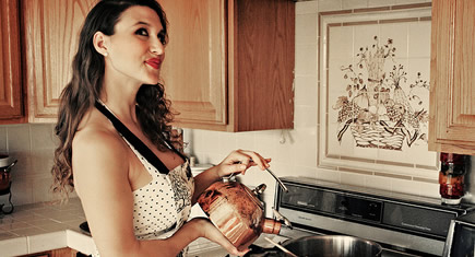 retro kitchen woman