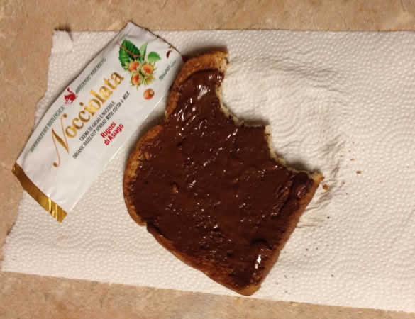 toast with hazelnut spread