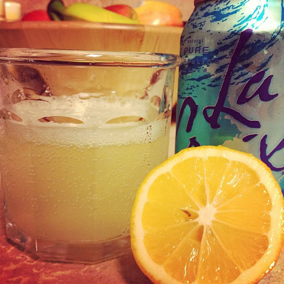 meyer lemon and sparkling water