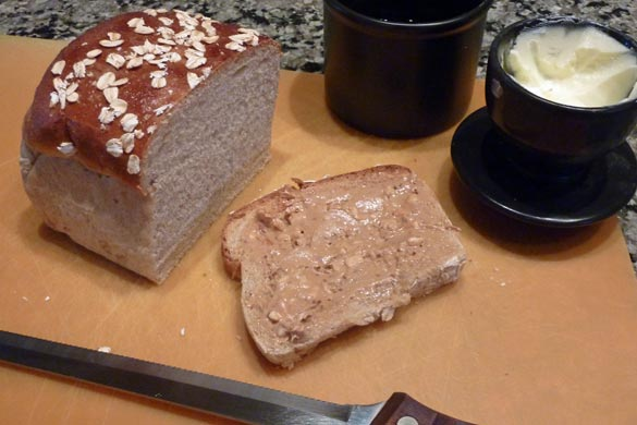 Score one for my homemade bread, deduct one for the addition of butter.