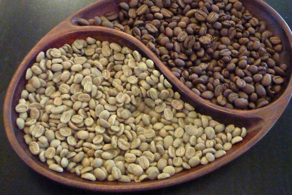 Coffee beans - before roasting and after.