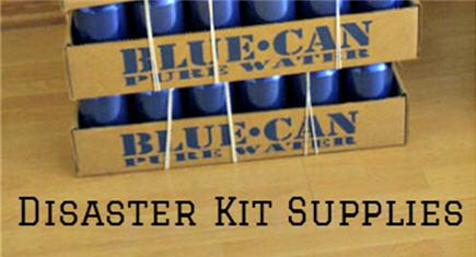 disaster kit essentials, healthy food, emergency kit, water, blue can water, earthquake kit, tornado kit, hurricane, natural disaster