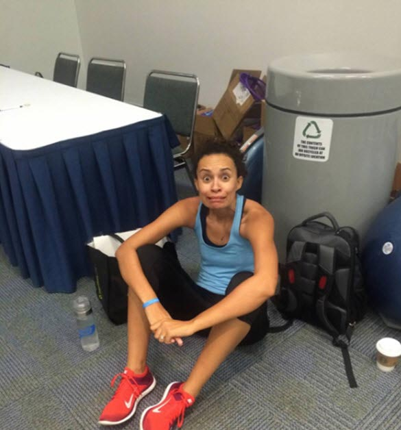 Me, huddled up and scared, before the workout.