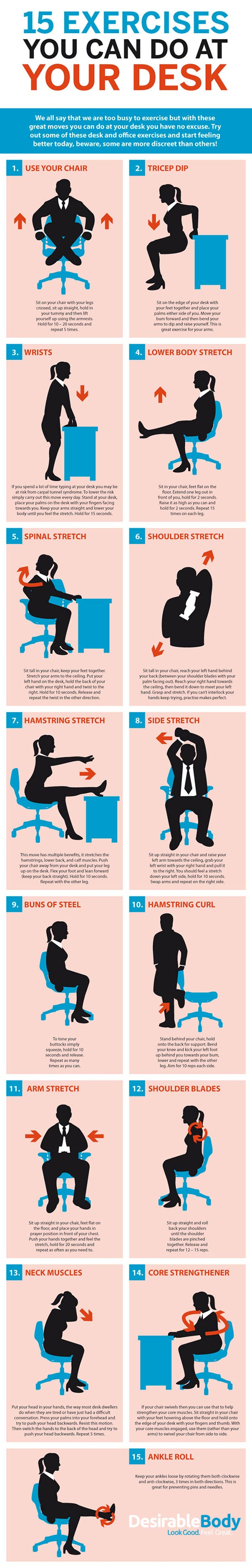 15 Exercises You Can Do At Your Desk. Usu It Desk. Drop Leaf Table With Chair Storage. Drawers Pulls. Rollup Desk. Desk With Roll Top. White Bedroom Desk. Cheap Black Desk. Small Side Tables