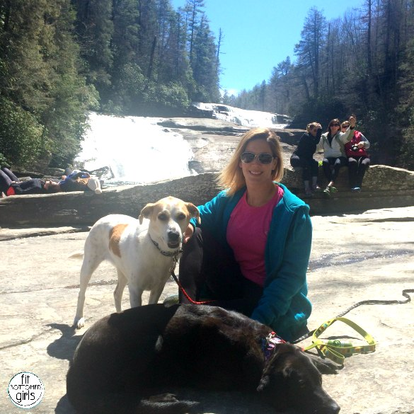 kristen and dogs at waterfall