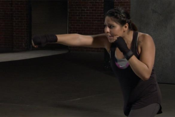 The overhand or power punch is Marlen's favorite punch.