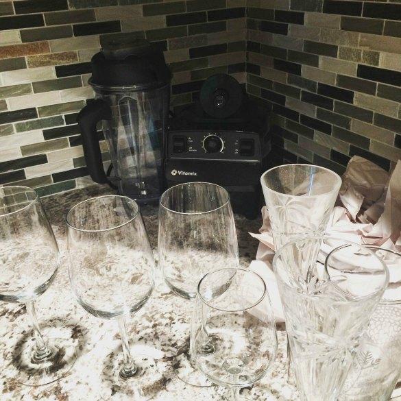 blender and wine glasses