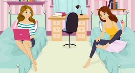 Illustration of Female Roommates Enjoying Their Downtime