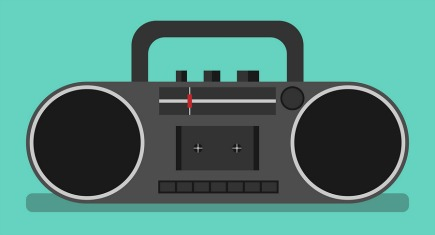 Black tape recorder on turquoise blue background with drop shadow. Boombox audio player. Flat style. EPS 8 vector illustration no transparency