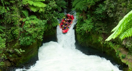 A group of whitewater rafters on the Kaituna River New Zealand