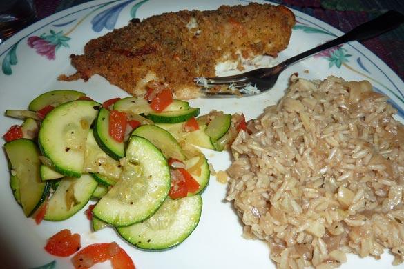 Panko coated halibut, sautéed squash and almond rice pilaf.