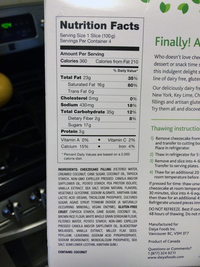 daiya-cheesecake-nutrition
