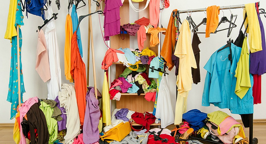 Untidy cluttered woman dressing with clothes and accessories vs. closet nicely arranged on hangers and shelf.