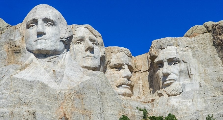 Mount Rushmore National Memorial - sculpture with faces of four American Presidents: Washington Jefferson Roosevelt and Lincoln at Keystone South Dakota