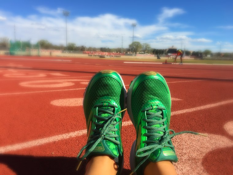 brooks running shoes on track